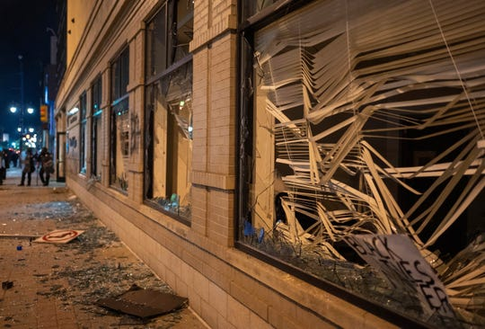 Damage is pictured to the Secretary of State building in downtown Grand Rapids, Mich., Saturday, May 30, 2020, following protests against the death of George Floyd, who died May 25 after he was pinned at the neck by a Minneapolis police officer.