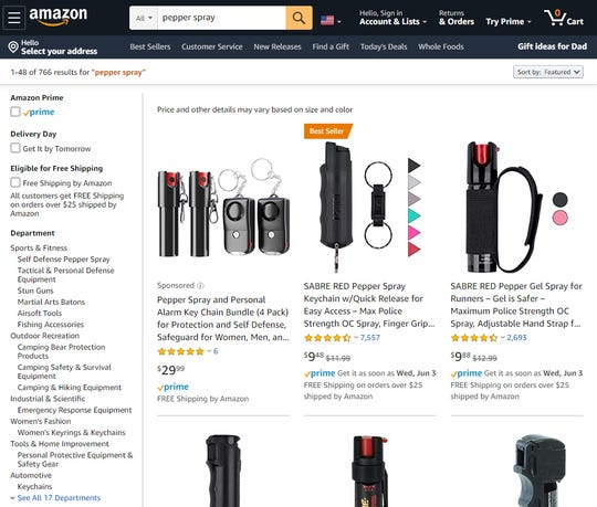 "A $9.48 canister of Sabre ""max police strength"" pepper spray shot up to the top-selling rank in Amazon's sports and outdoors category Monday morning."