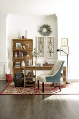 A home office space that features rattan furniture strikes a casual tone.