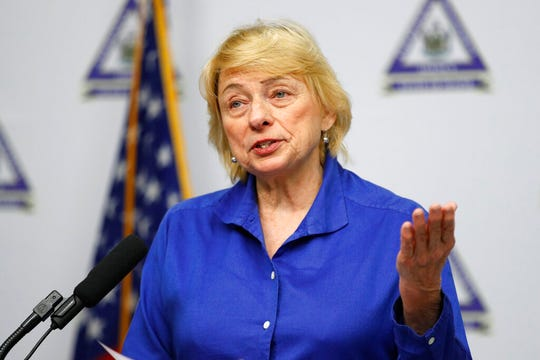 Maine Gov. Janet Mills speaks at a news conference where she announced new plans for the stay-at-home order and other measures to help combat the coronavirus pandemic, Tuesday, April 28, 2020, in Augusta, Maine.