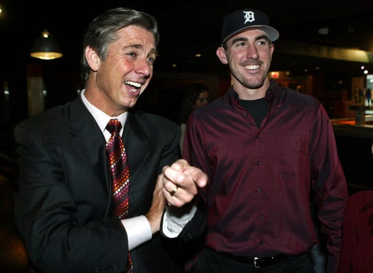 Tigers president Dave Dombrowski, left, selected pitcher Justin Verlander with the second overall pick in the 2004 draft.