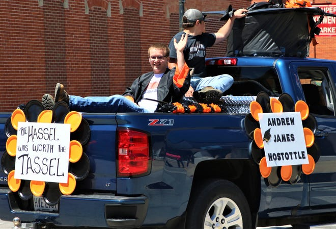 Gibsonburg's 2020 Senior Andrew James Hostottle was one of the students participating in a parade through town on May 31.