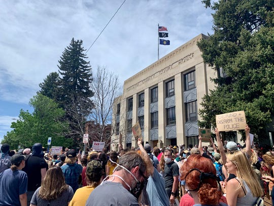 Hundreds gathered outside the Gallatin County Court House to protest the death of George Floyd.