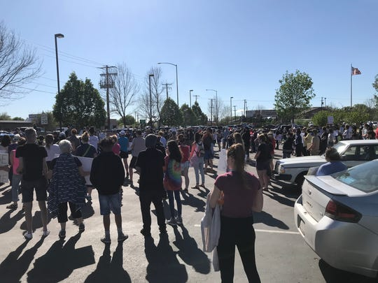 Residents gather in the parking lot of the federal courthouse in Great Falls Sunday to protest the death of George Floyd in Minneapolis on Memorial Day.