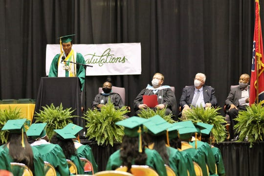 Dallas Jones gives his valedictory address to the class of 2020 during the  JCM Early College High School graduation ceremony in Oman Arena in Jackson, Tenn., Friday, May 22, 2020. All of the seniors were graduating with college credit while still continuing to advancing their education after high school.