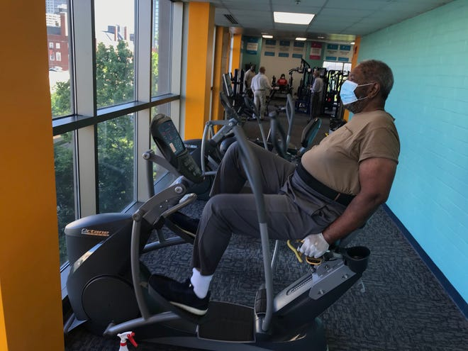 """""""When I walked through the door this morning my body and mind kicked in and said 'breath."""" Ron Logan is thrilled to be back exercising at the downtown YMCA Monday."""