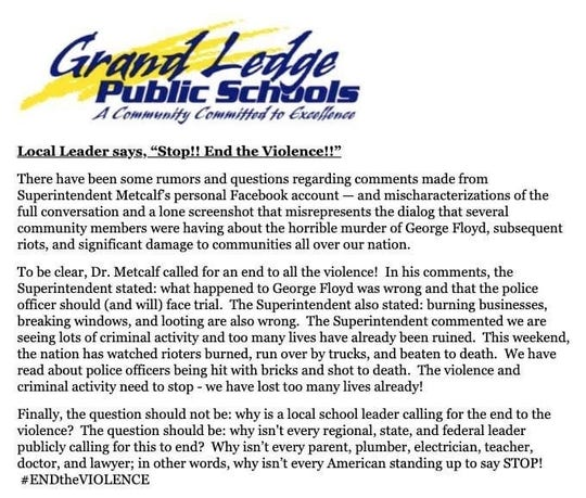 A statement from Grand Ledge Public Schools Superintendent Brian Metcalf that was emailed to Grand Ledge parents and Grand Ledge High School students June 1, 2020.