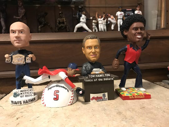 The 2007 Cleveland Indians stadium giveaway bobbleheads include Travis Hafner, Grady Sizemore, Tom Hamilton and CC Sabathia.