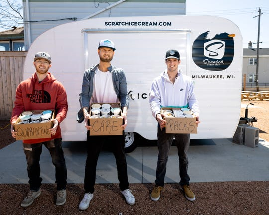 Justin Povlick (from left), Ryan Povlick and Dustin Garley are Scratch Ice Cream business partners,