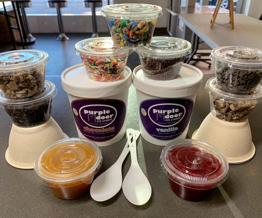 Purple Door Ice Cream sells $20 Sundae Survival Kits – two ice cream pints, five toppings, cups and spoons.