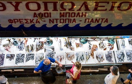 Fresh fish at the market in the Kallitheas neighborhood of Athens, Greece.