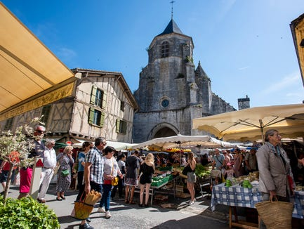 Market day in Issigeac, France.