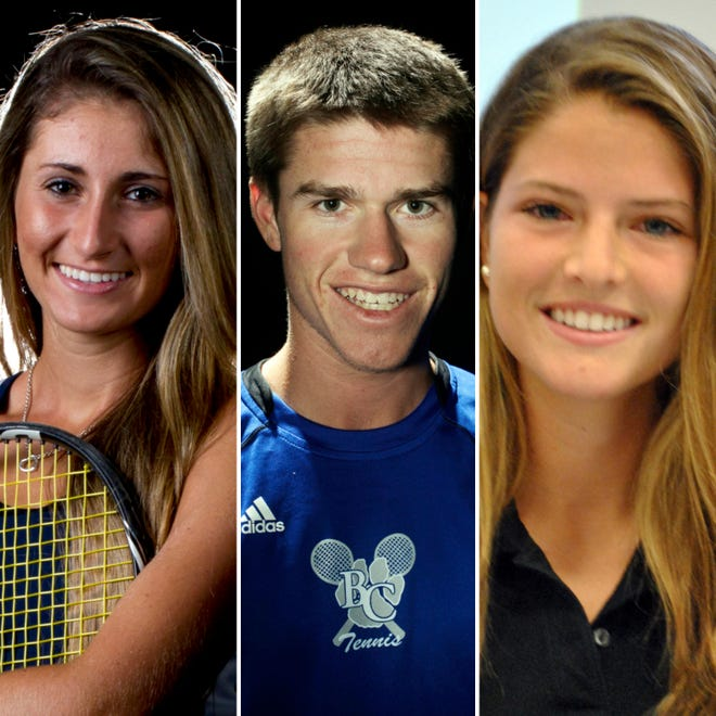 Naples High graduate Nikki Kallenberg (left) and Barron Collier grad Brett Clark (center) have been selected by the Naples Daily News as the Boys and Girls Tennis Players of the Decade. Barron Collier's Natalia Maynetto (right) and Clark won the readers polls for Players of the Decade.