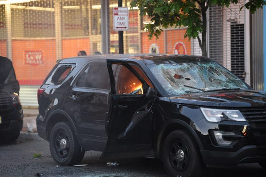 A police SUV was set on fire following a solidarity march over the death of George Floyd outside of NJ State House in Trenton on 05/31/20.