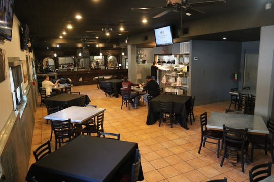 Lucky Bull's indoor dining room is open for customers, June 1, 2020 in Carlsbad.