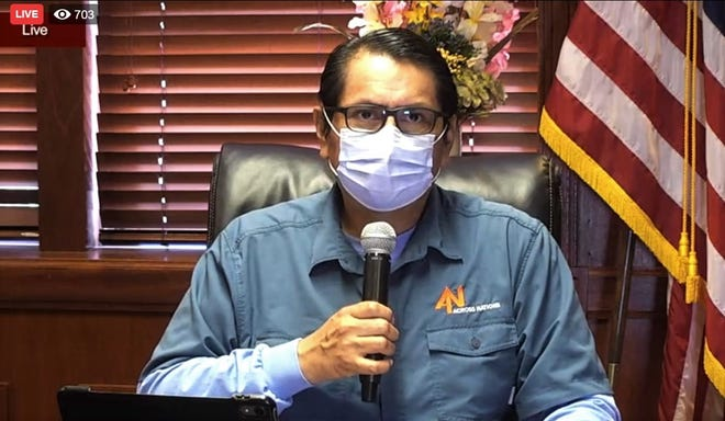 A screenshot shows Navajo Nation President Jonathan Nez addressing the public during a town hall meeting streamed live on May 26 on Facebook.