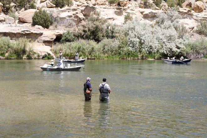 Anglers fish, Monday, June 1, 2020, at Texas Hole in Navajo Lake State Park. While most of the state park reopened on June 1, the quality waters including Texas Hole reopened earlier.