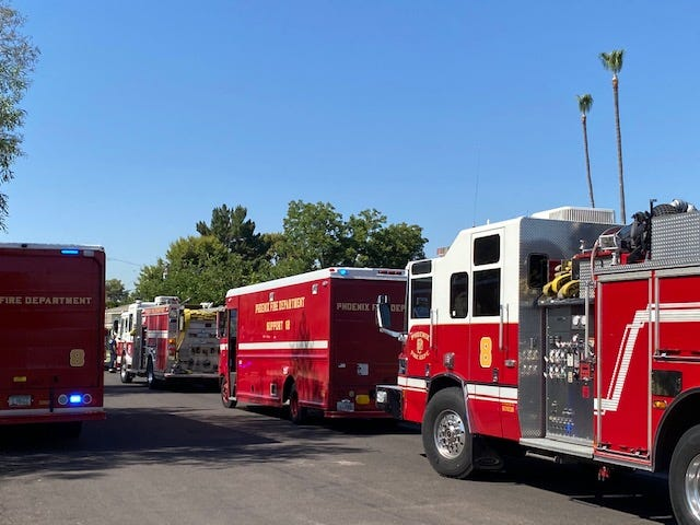 A tree trimmer was unresponsive after coming in contact with electrical lines in Phoenix on June 1, 2020.