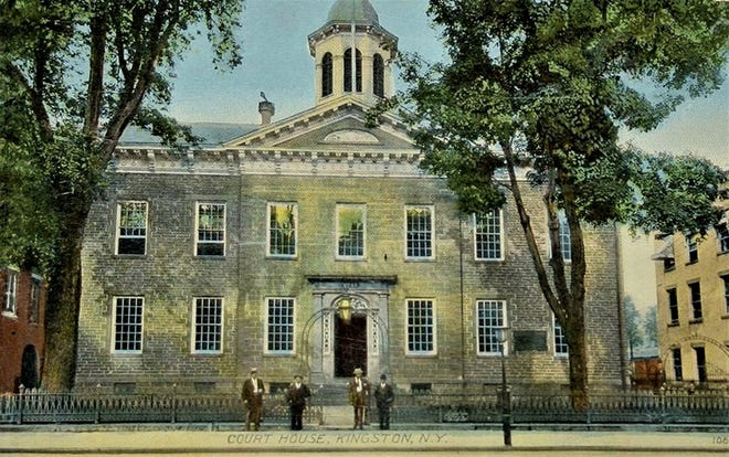 Built in 1818 along Wall Street in Kingston, this vintage postcard depicts an early 20th century view of the Ulster County Courthouse. It is the fourth courthouse to serve the county and the building replaced a previous one that was burned by the British during an October 1777 attack of the community, then the capital of New York.