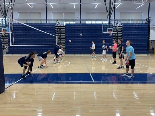 West York seniors Greg Anstine and Jason McSherry led boys' volleyball workouts in the offseason when the program was still without a head coach.