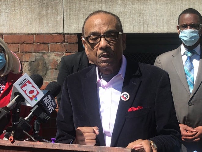Rev. Lewis Stewart discusses violence and looting that occurred after Saturday's protest march on June 1, 2020 outside the Downtown United Presbyterian Church.
