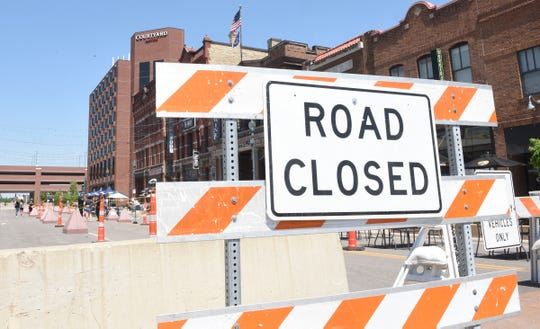 Fifth Avenue in downtown St. Cloud is closed for restaurants to open additional patio seating Monday, June 1, 2020.