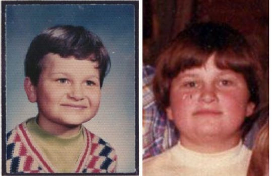 Billy Dinkel's school pictures from first grade (left) when he was 6 years old and sixth grade when he was 11 at St. Mary's School in Long Prairie.