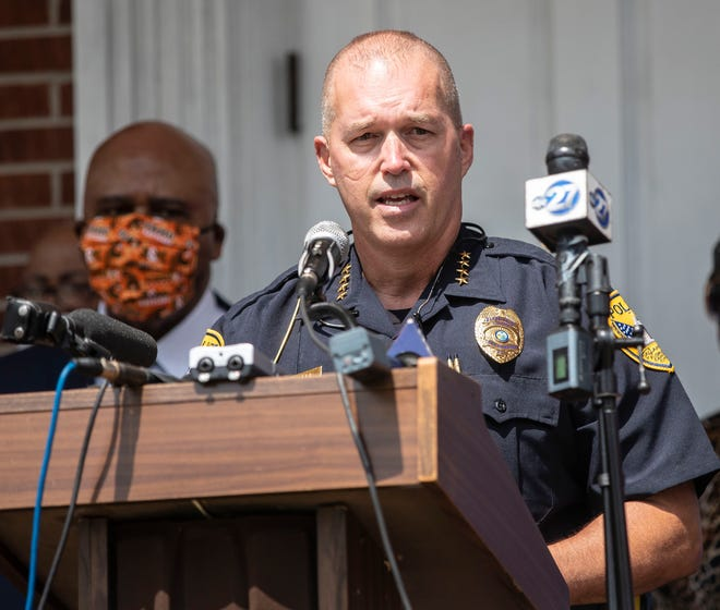 Tallahassee Police Department Chief of Police Lawrence Revell speaks at a press conference at Bethel Missionary Baptist Church on Monday, June 1, 2020.