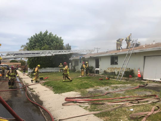 One person was rescued from a fire at single-story houseMonday in Simi Valley.