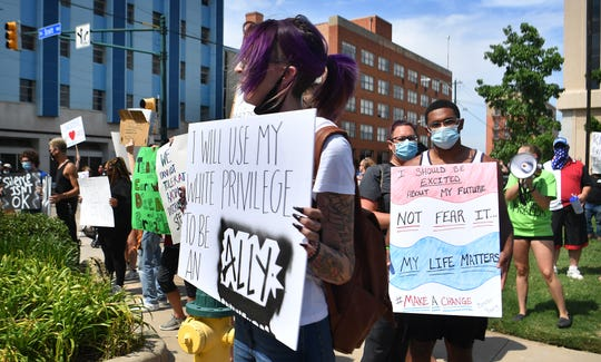 Katie Bindel organized the peceful protest against racial injustice held Monday downtown.