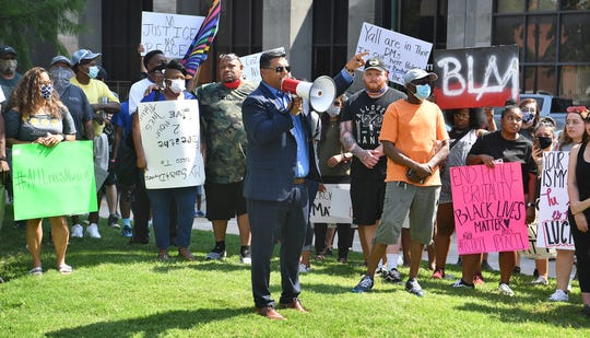 Wichita Falls Mayor Stephen Santellana spoke in solidarity with protestors attending an event Monday downtown.