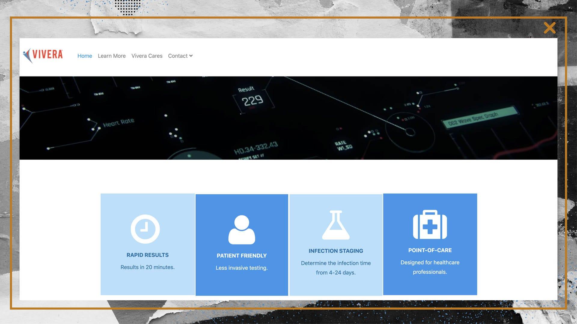 A screenshot of Vivera's website.