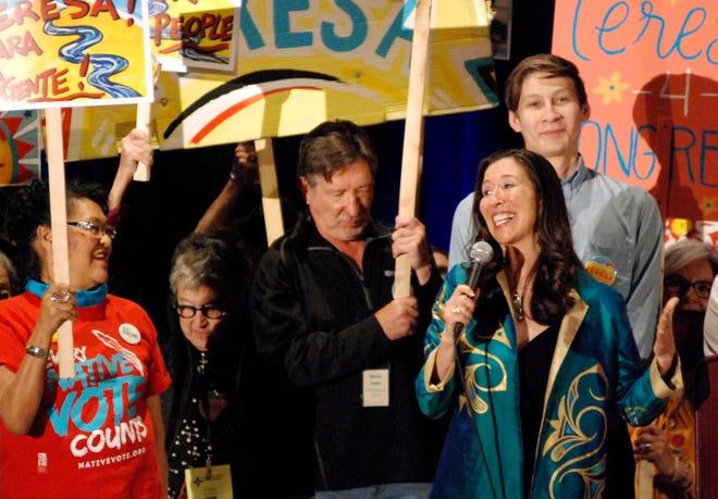 Attorney Teresa Leger Fernandez of Santa Fe speaks to Democratic delegates March 7 at a pre-primary convention in Pojoaque, N.M.