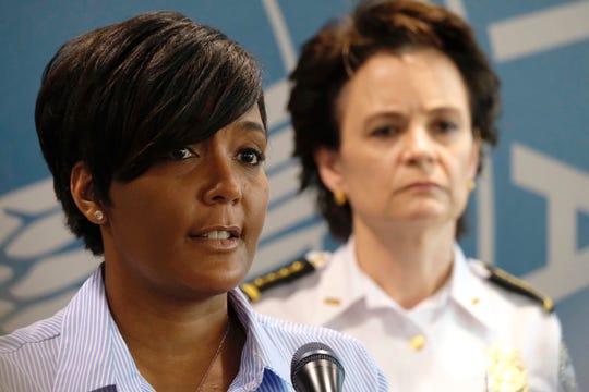 Atlanta Mayor Keisha Lance Bottoms and Police Chief Erika Shields announce a curfew on May 30, 2020.