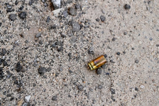 A bullet casing on Haywood Street in front of Asheville Club June 2, 2020.