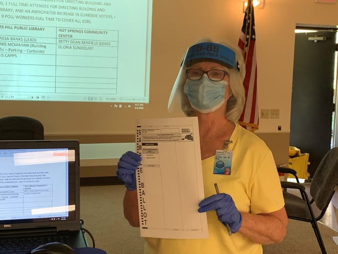 Kathy Ray, the director of the Madison County Board of Elections, holds up a paper ballot wearing the mask, face shield and gloves to be worn by all poll workers in Madison County during the second Republican primary for N.C.'s 11th congressional district.