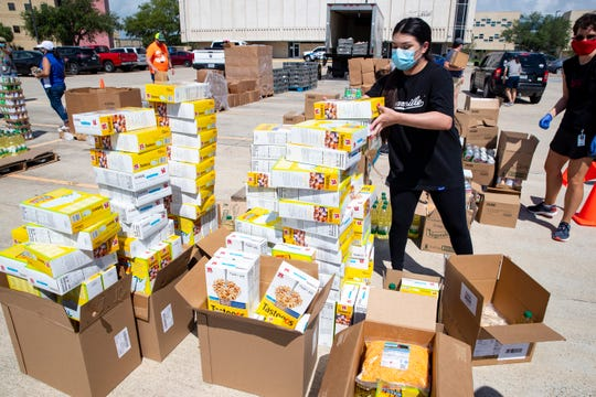 Del Mar College and the Coastal Bend Food Bank hosted a drive-thru food pantry at the school's east campus on Tuesday, June 2, 2020.