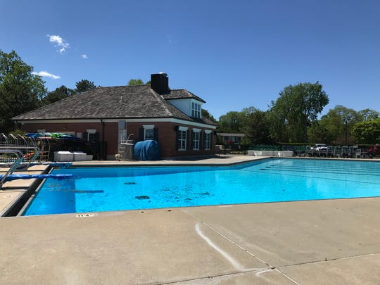 The pool at Pier Park in Grosse Pointe Farms is filled with water on May 31, 2020.