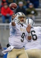 Western Michigan quarterback Kaleb Eleby (9) played in five games as a freshman in 2018, including four starts.