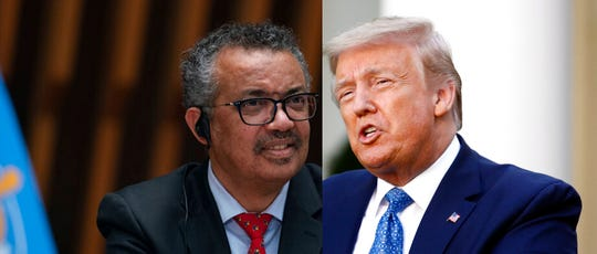 Tedros Adhanom Ghebreyesus, Director General of the World Health Organization, left, and President Donald Trump.