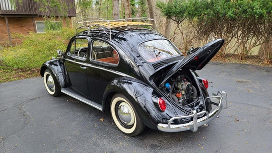 The 1964 VW Bug is powered by a rear-mounted, 1.2-liter flat-4 cylinder engine making 40 horsepower.