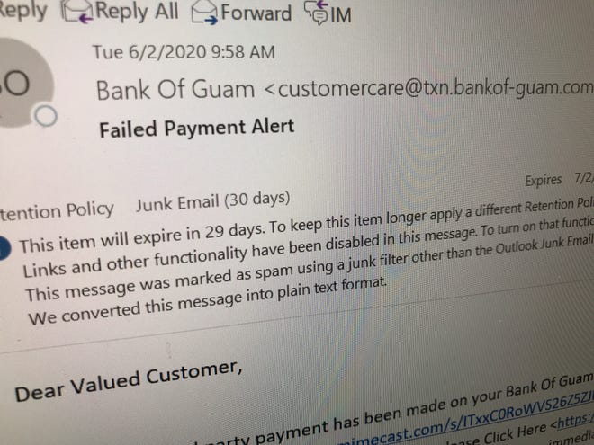 The Bank of Guam confirmed this email didn't come from the bank and warns residents to be wary of unsolicited emails and to not click any links.