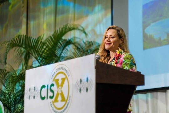 Amanda Ellis delivers the keynote speech at the University of Guam Conference on Island Sustainability in this 2019 file photo.