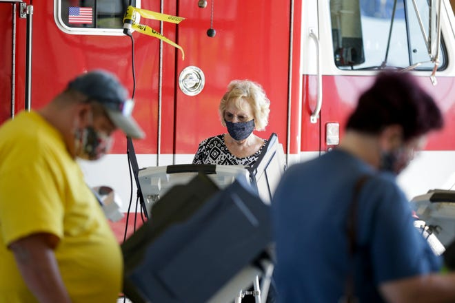 Voters cast their ballots at Lafayette Fire Station No. 5, Tuesday, June 2, 2020 in Lafayette.