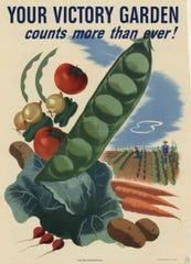 World War II propaganda poster for victory gardens.