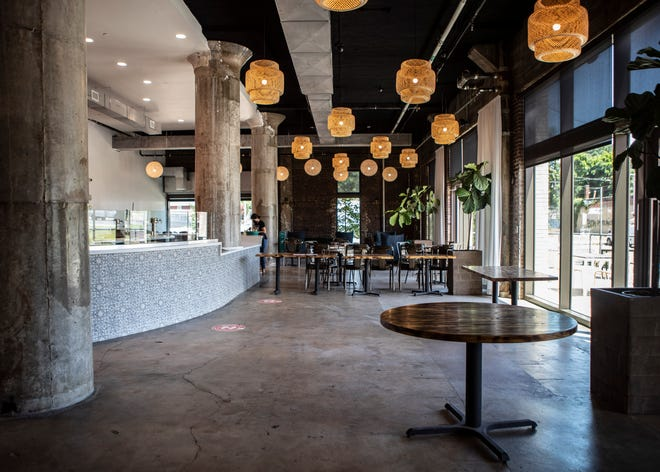 The dinning room inside new restaurant Pizzeria Trasimeno  in Crosstown Concourse in Memphis,Tenn., on Tuesday, June 2, 2020.