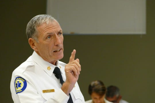 Fire-Rescue Chief Michael D. Murphy speaks during a Marco Island City Council meeting on June 1, 2020.