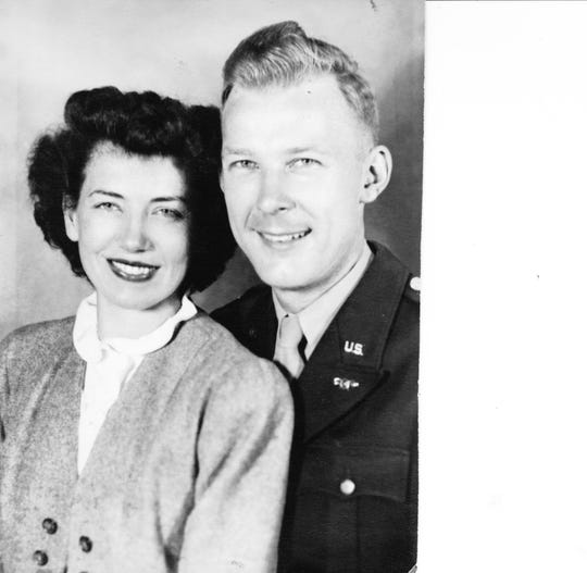 Art Gurda and Clare Johnson at the time of their wedding in 1944.