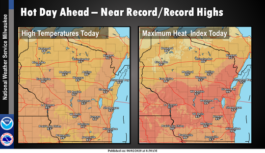 Temperatures soared into the 90s for the first time since last August which created heat indexes in the mid-90s because of high humidity. Credit: National Weather Service