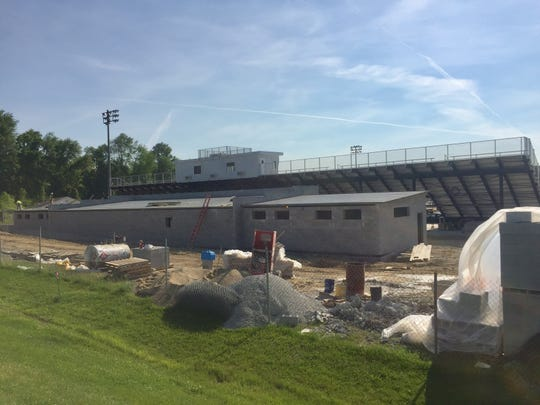 The new Granville High School Stadium project is on time and on budget officials say. New locker room facilities located behind the new bleachers and press box are now under roof.